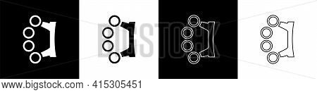 Set Brass Knuckles Icon Isolated On Black And White Background. Vector
