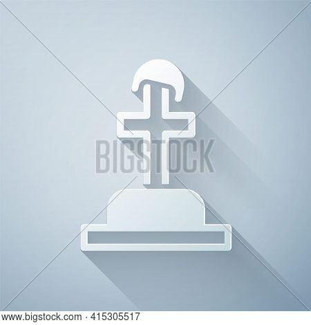 Paper Cut Soldier Grave Icon Isolated On Grey Background. Tomb Of The Unknown Soldier. Paper Art Sty