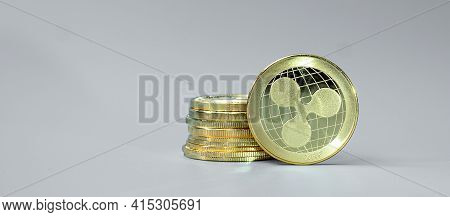 Golden Ripple (xrp) Cryptocurrency Coin Stack, Crypto Is Digital Money Within The Blockchain Network