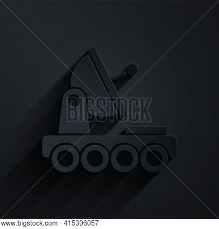 Paper Cut Mars Rover Icon Isolated On Black Background. Space Rover. Moonwalker Sign. Apparatus For