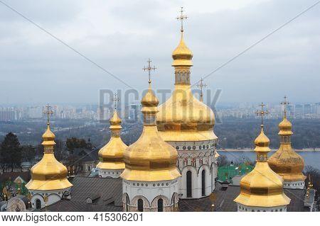 Close Up Detail View Of Ukrainian Orthodox Church Cupolas