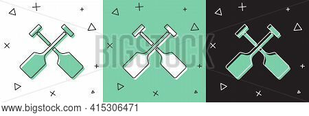 Set Paddle Icon Isolated On White And Green, Black Background. Paddle Boat Oars. Vector