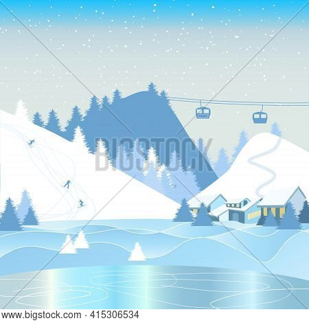 Winter Mountain Landscape With Snow-capped Mountains, Ski Track, Foothill Village. Winter Vacation,