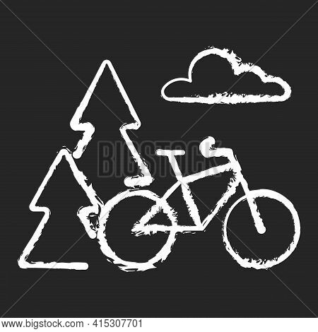Outdoor Activities Chalk White Icon On Black Background. Outside Exercise. Ride Bike In Nature. Bicy
