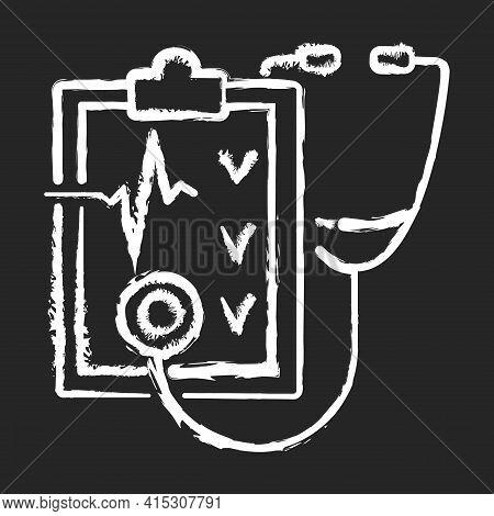 Regular Health Checkups Chalk White Icon On Black Background. Hospital Check. Clinical Examination.
