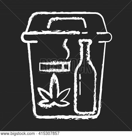 Quitting Bad Habits Chalk White Icon On Black Background. No Smoking. Stop Drug Dependance. Refuse A