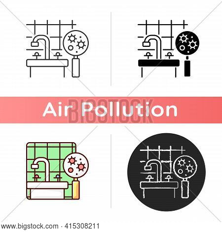 Mold Icon. Molds And Bacteria Can Produce Dangerous Toxic Microscopic Airborne Particles Into Air. L