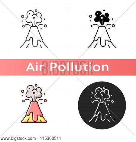 Volcanic Activity Icon. Volcanic Eruptions Are Major Sources Of Natural Air Level Pollution Problem.