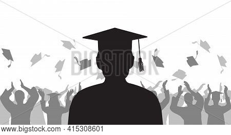 Silhouette Graduate On Background Of Cheerful Group People Throwing Mortarboard. Graduation Ceremony