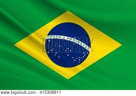 Flag Of Brazil. Fabric Texture Of The Flag Of Brazil.