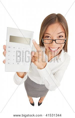 Accountant funny. Fun high angle perspective of an attractive gleeful woman or accountant in glasses pointing to a calculator that she is holding up with a blank digital readout isolated on white
