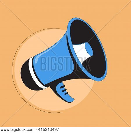 Simple Flat Blue Speaker Toa Megaphone Illustration Design On Yellow Background Template Vector. Pos