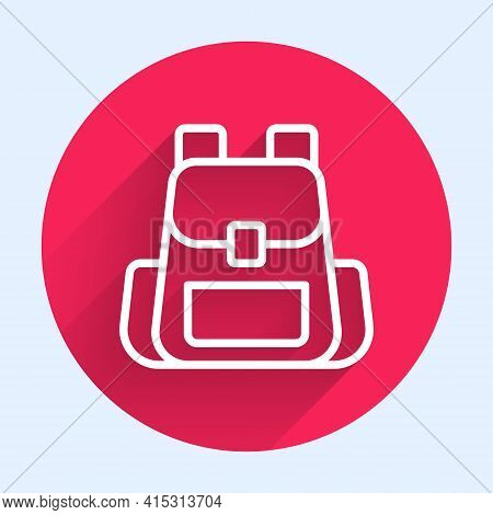 White Line Hiking Backpack Icon Isolated With Long Shadow. Camping And Mountain Exploring Backpack.