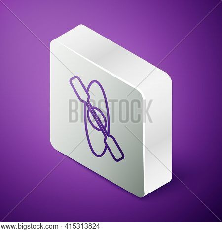 Isometric Line Kayak And Paddle Icon Isolated On Purple Background. Kayak And Canoe For Fishing And