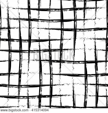 Vector Black Burlap Effect Seamless Pattern Background. Hessian Fibre Texture Fabric Style Backdrop
