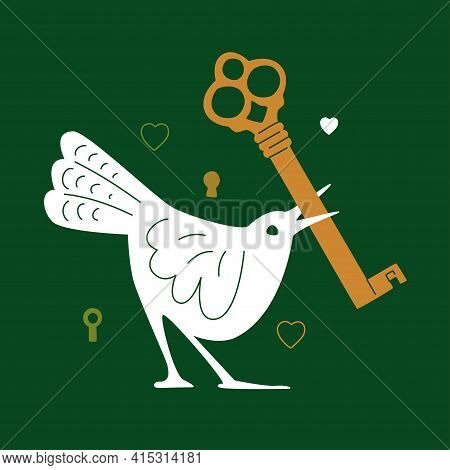 White Bird With An Old Key In Her Beak. Modern Flat And Line Vector Illustration Isolated On Green B
