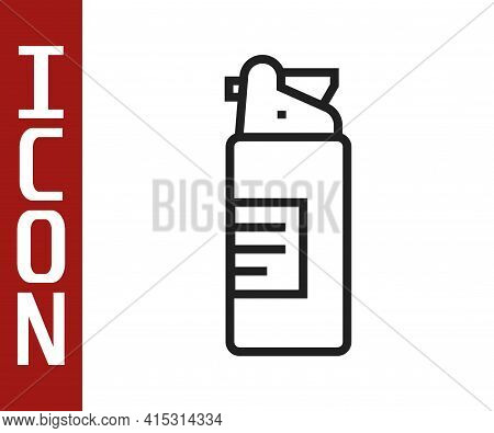 Black Line Weapons Oil Bottle Icon Isolated On White Background. Weapon Care. Vector