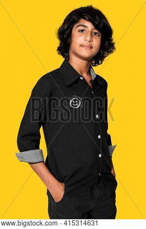 Teenage boy in black shirt for basic apparel shoot