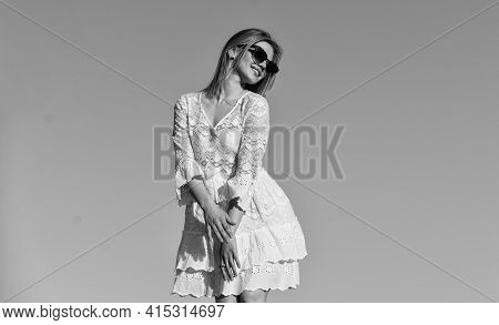Emotional Girl. Happy Girl White Dress Feel Free. Summer Party. Sunny Day. Carefree Girl. Freedom. I