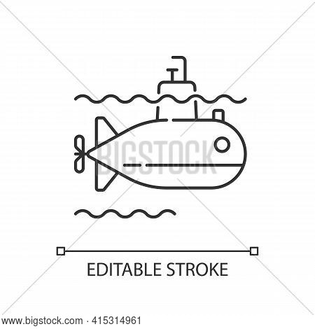 Submarine Linear Icon. Watercraft Capable Of Independent Operation Underwater. Underwater Vehicle. T