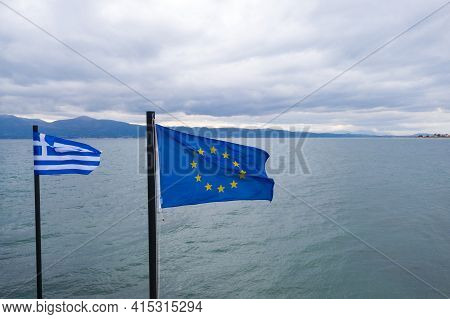 Greek And Eu Flags On Vessel. Oropos Sea Gulf Of Evia, Greece