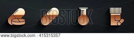 Set Medicine Pill Or Tablet, Medicine Pill Or Tablet, Test Tube And Flask And Medicine Bottle And Pi