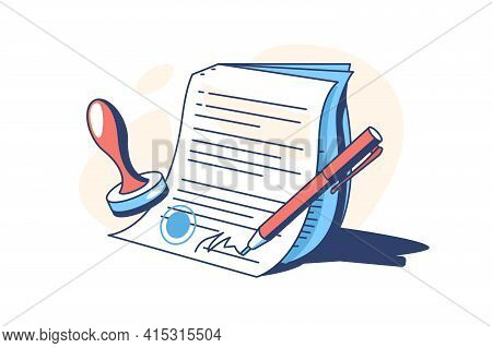 Contract With Personal Sign Vector Illustration. Pen