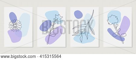 Contemporary Hand Drawn Vector Illustrations. Various Leaves And Flowers, Abstract Shapes. Ink Paint