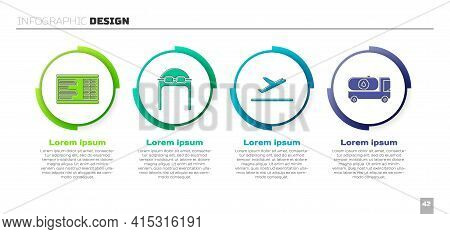 Set Airport Board, Aviator Hat With Goggles, Plane Takeoff And Fuel Tanker Truck. Business Infograph