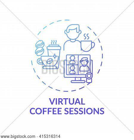 Virtual Coffee Sessions Concept Icon. Virtual Events Success Tip Idea Thin Line Illustration. Mainta