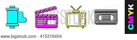 Set Camera Vintage Film Roll Cartridge, Movie Clapper, Retro Tv And Vhs Video Cassette Tape Icon. Ve