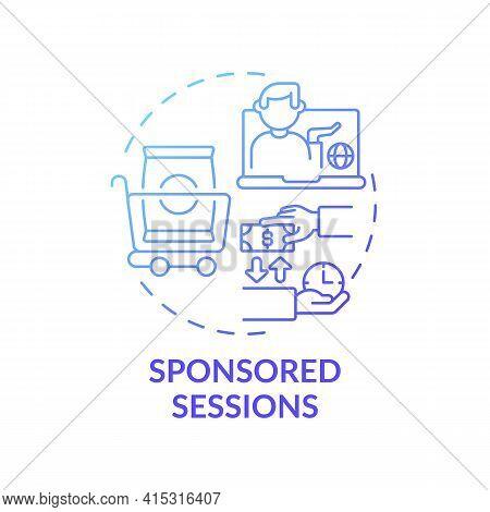 Sponsored Sessions Concept Icon. Sponsorship Virtual Events Idea Thin Line Illustration. Reaching Gl