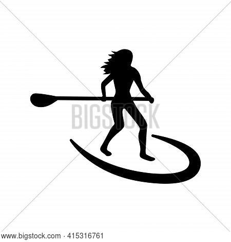 Stand Up Paddle Logo. Girl Standing On Sup And Holding A Paddle.trendy Types Of Water Activities. Ve