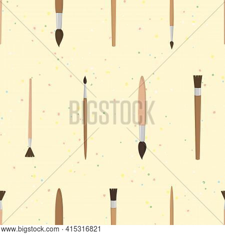 Vector Seamless Pattern With Brushes And Paint Splashes On Yellow Background. For Decoration, Card,