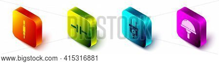 Set Isometric Audio Jack, Electric Circuit Scheme, Electric Plug And Light Emitting Diode Icon. Vect
