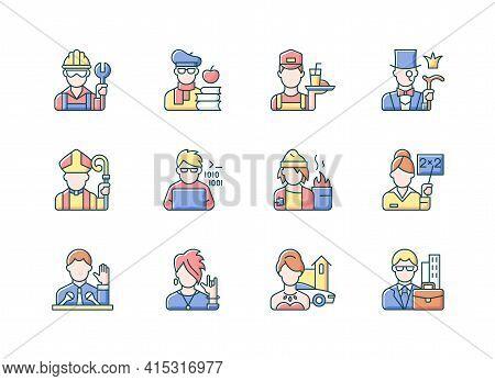 Social Status Rgb Color Icons Set. Lower And Upper Class. Political Elite. Intelligentsia, Aristocra