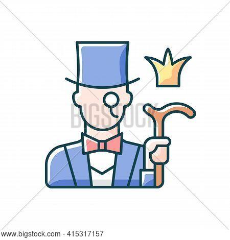 Aristocratic Elite Rgb Color Icon. Posh Gentleman With Monocle. Rich Person, Wealthy Victorian Man.
