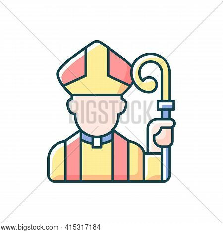 Clergy Rgb Color Icon. Male Catholic Priest. Vatican Pope. Religious Figure. Christian Church Pastor