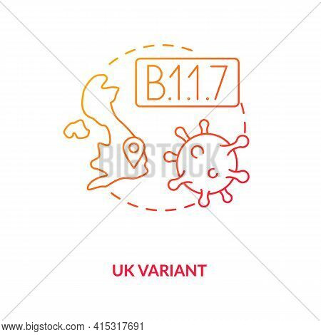 Uk Variant Concept Icon. Disease Becoming More Deadly And Difficult To Treat. Illness Types Increasi