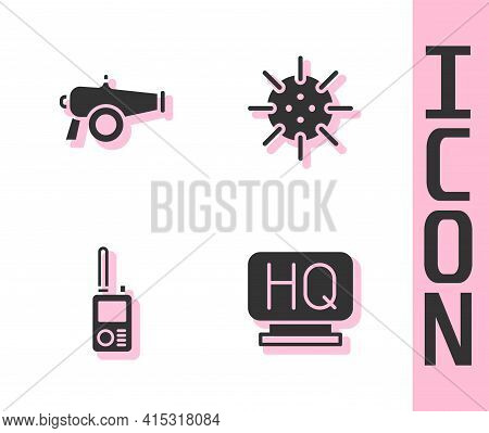 Set Military Headquarters, Cannon, Walkie Talkie And Naval Mine Icon. Vector