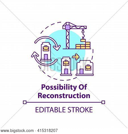Reconstruction Possibility Concept Icon. Office Building Idea Thin Line Illustration. Open Space. Of