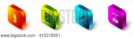 Set Isometric Weapons Oil Bottle, Catalog, Anti-tank Hand Grenade And Buying Assault Rifle Icon. Vec