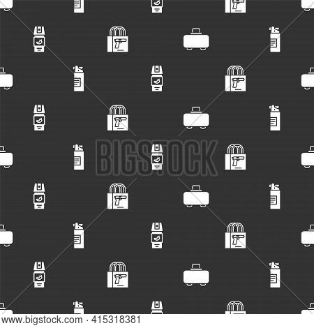 Set Weapon Case, Weapons Oil Bottle, Pepper Spray And Buying Gun Pistol On Seamless Pattern. Vector