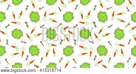 Ecological Vegetables. Microgreens. Vegetables Pattern Seamless. Home Farm. Home Garden. A Vegetable
