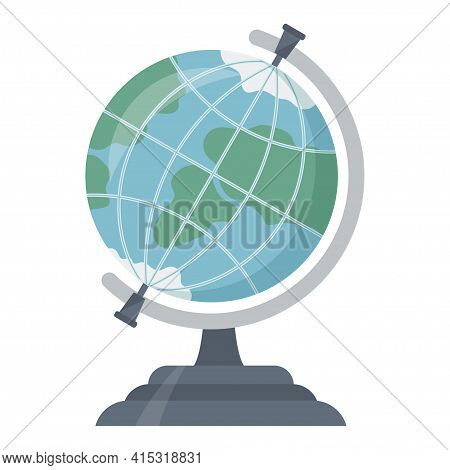School Globe Vector Flat Illustration. Circle Ball With Global Map Model Earth Planet Globalization