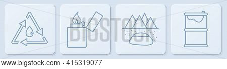 Set Line Oil Drop With Recycle, Oilfield, Lighter And Barrel Oil Leak. White Square Button. Vector