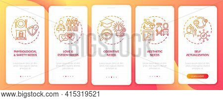 Human Being Needs Red Onboarding Mobile App Page Screen With Concepts. Self-actualization Walkthroug