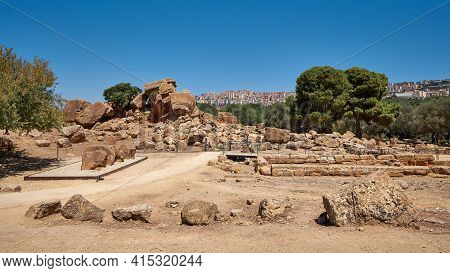 Ancient Stones And Broken Columns. Landscape With Olive Trees And View From The Hill. Valley Of The