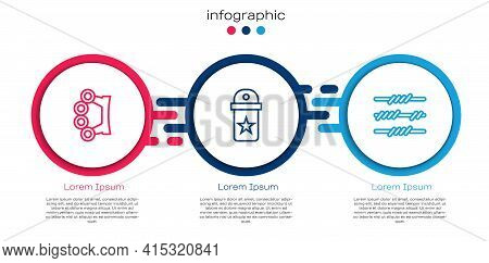 Set Line Brass Knuckles, Chevron And Barbed Wire. Business Infographic Template. Vector