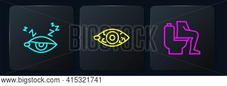 Set Line Insomnia, Constipation And Reddish Eye. Black Square Button. Vector